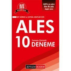 Pegem ALES Eşit Ağırlık ve Sayısal Adaylar için Tamamı Çözümlü 10 Deneme (2016)