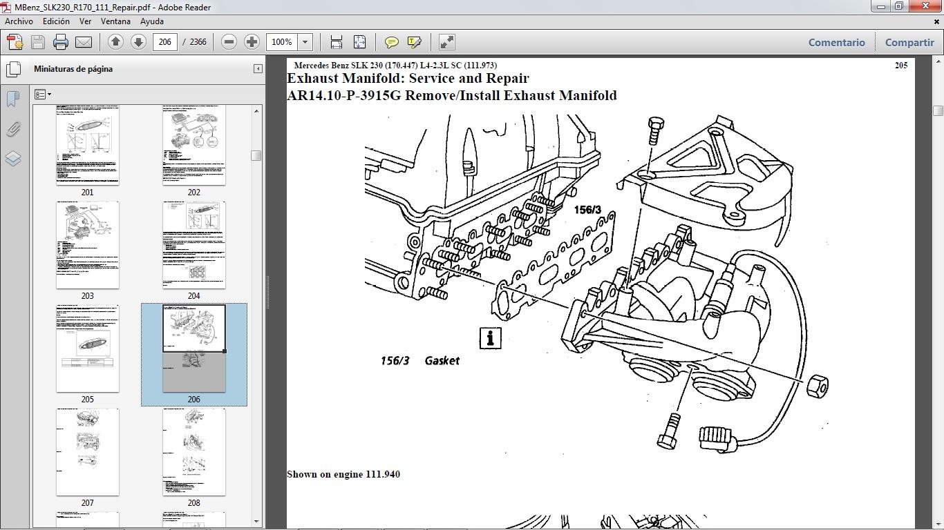 manual para reparaci n del mercedes benz slk230 chassis r170 motor 111 gasolina l4 2 3 sc en formato pdf con 2 366 p ginas  [ 1366 x 768 Pixel ]