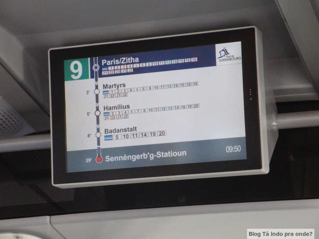 andando de ônibus em Luxemburgo