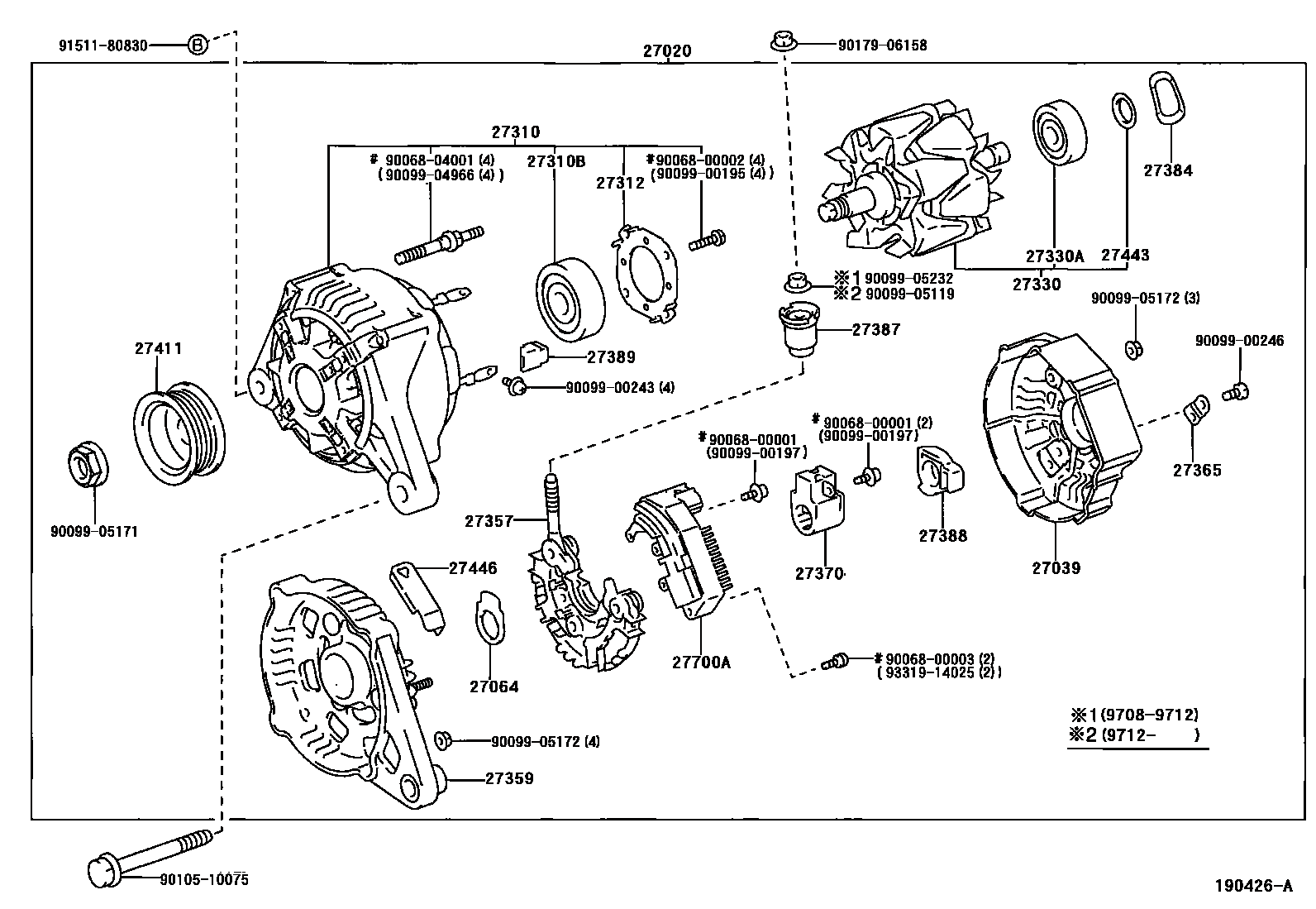 1999 Toyota Corolla VE 1ZZFE Engine Alternator Exploded Diagram