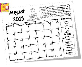 Freebielicious: Clip Chart Take Home Calendars for 2013-2014