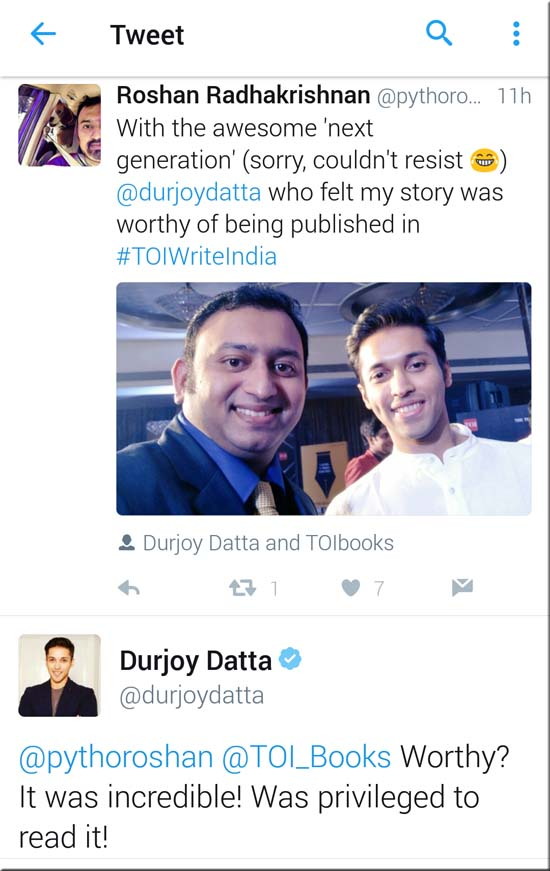 Durjoy Datta's tweet to winner of of Write India Roshan Radhakrishnan