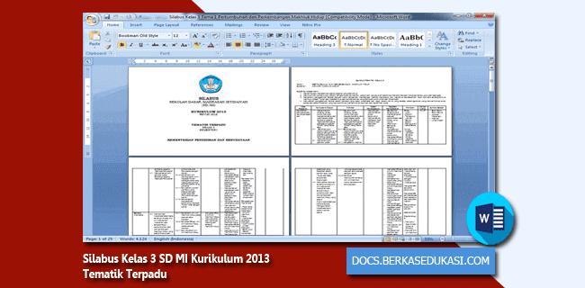 Silabus Kelas 3 SD MI Kurikulum 2013 Tematik Terpadu