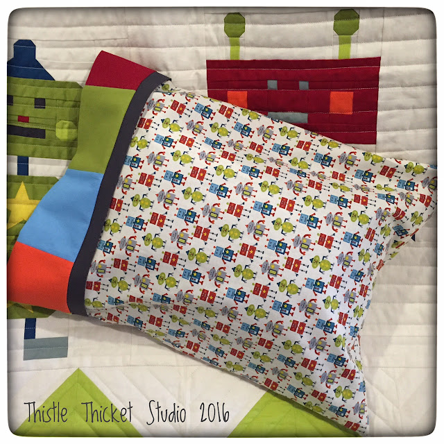 Thistle Thicket Studio, Robots All In A Row quilt, robot quilt, robot pillowcase, Little Monsters Robots fabric, quilts