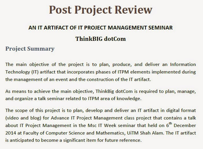 The IT Artifact of Advance IT Project Management