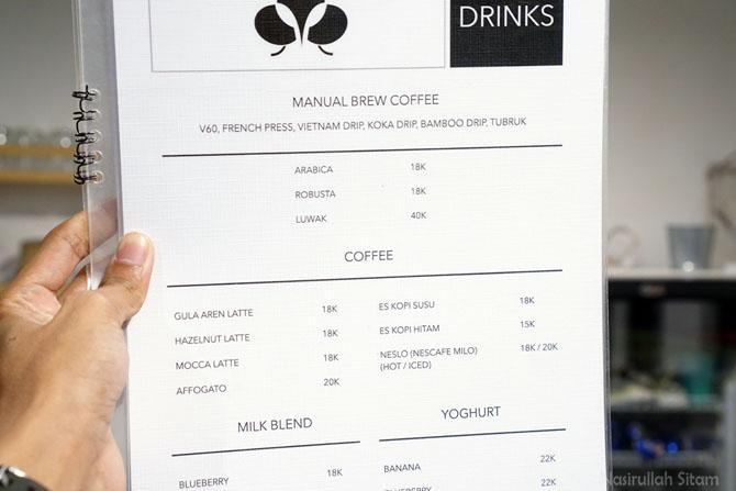 Daftar menu dan harga kedai kopi Ruang Tengah Cafe