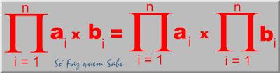 O produtório de um produto de duas variáveis é igual ao produto dos produtórios individuais.
