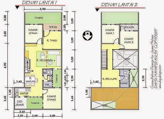 denah rumah tingkat 2 lantai