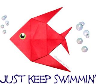 keep swimming  origami fish