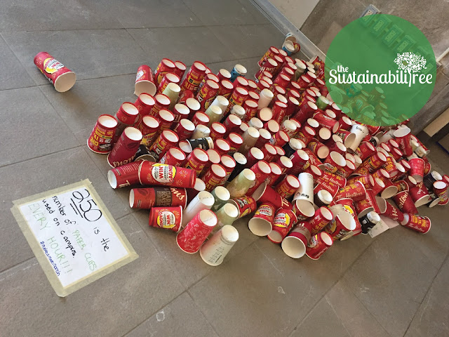 A pile of disposable coffee cups at uOttawa