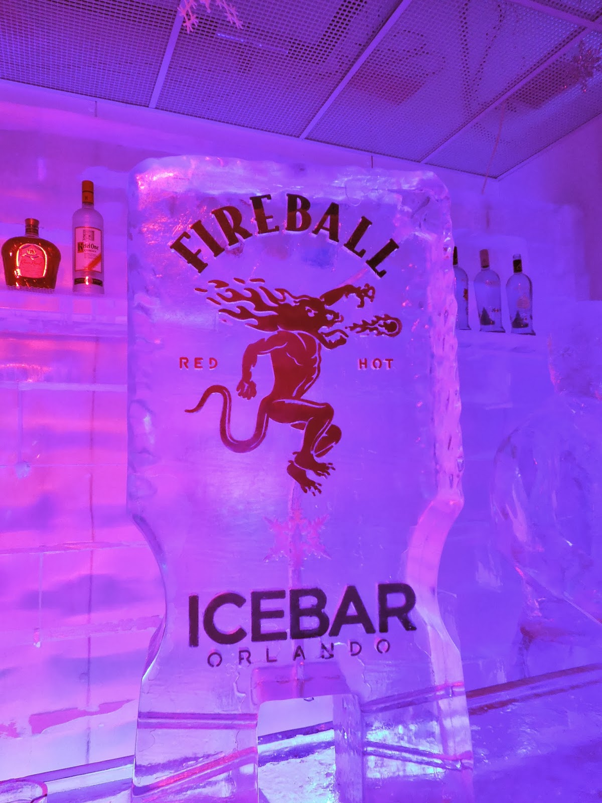 Fireball ice sculpture