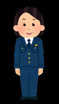 警察官のイラスト(女性・制帽なし・パンツ・中年)
