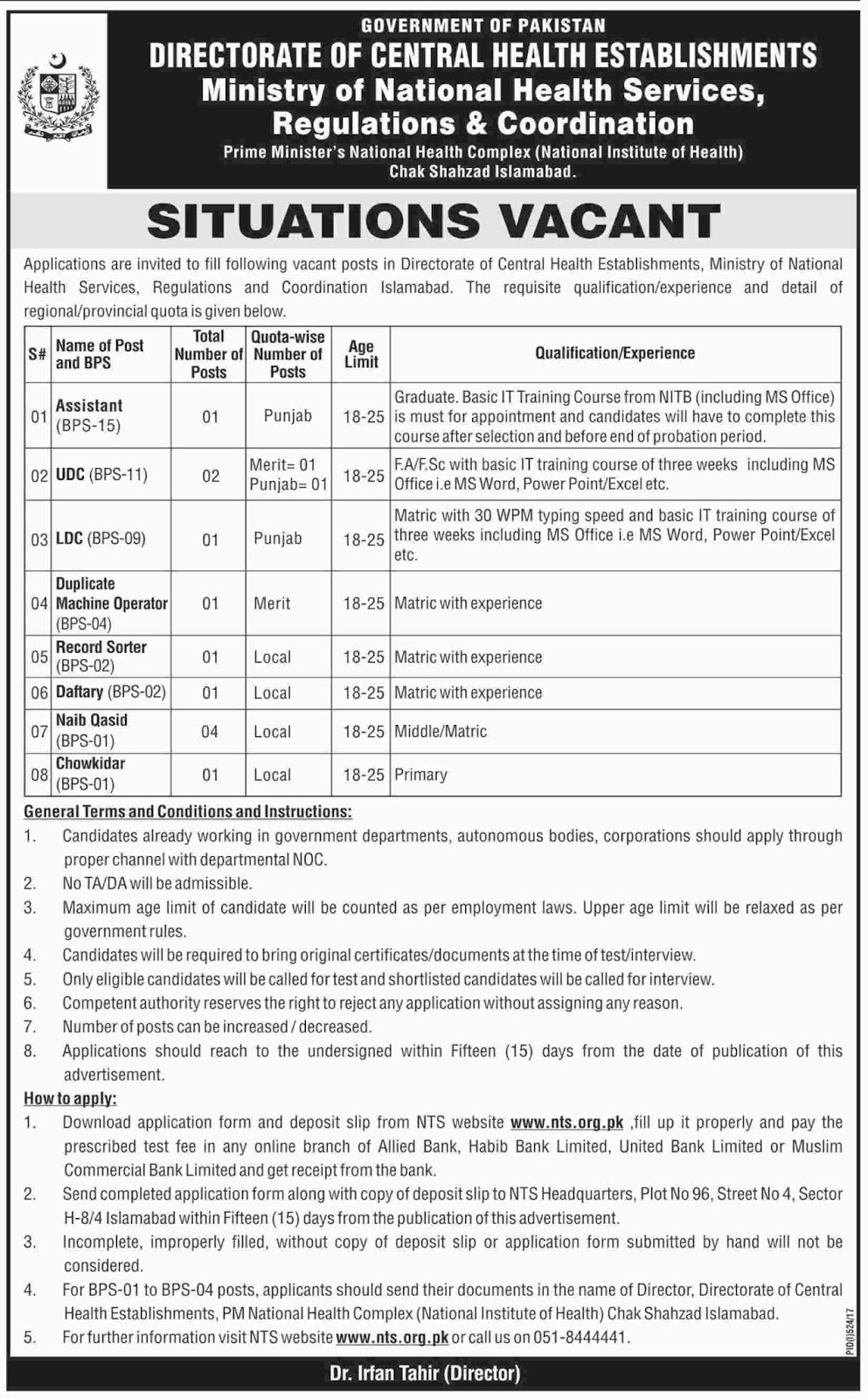 Jobs In Ministry Of National Health Services Islamabad Aug 2017