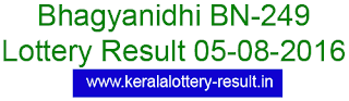 Bhagyanidhi BN249, Kerala Bhagyanidhi BN 249, Lottery result Bhagyanidhi BN 249 today 5-8-2016, Kerala Bhagyanidh lottery result (BN-249) Kerala lottery result