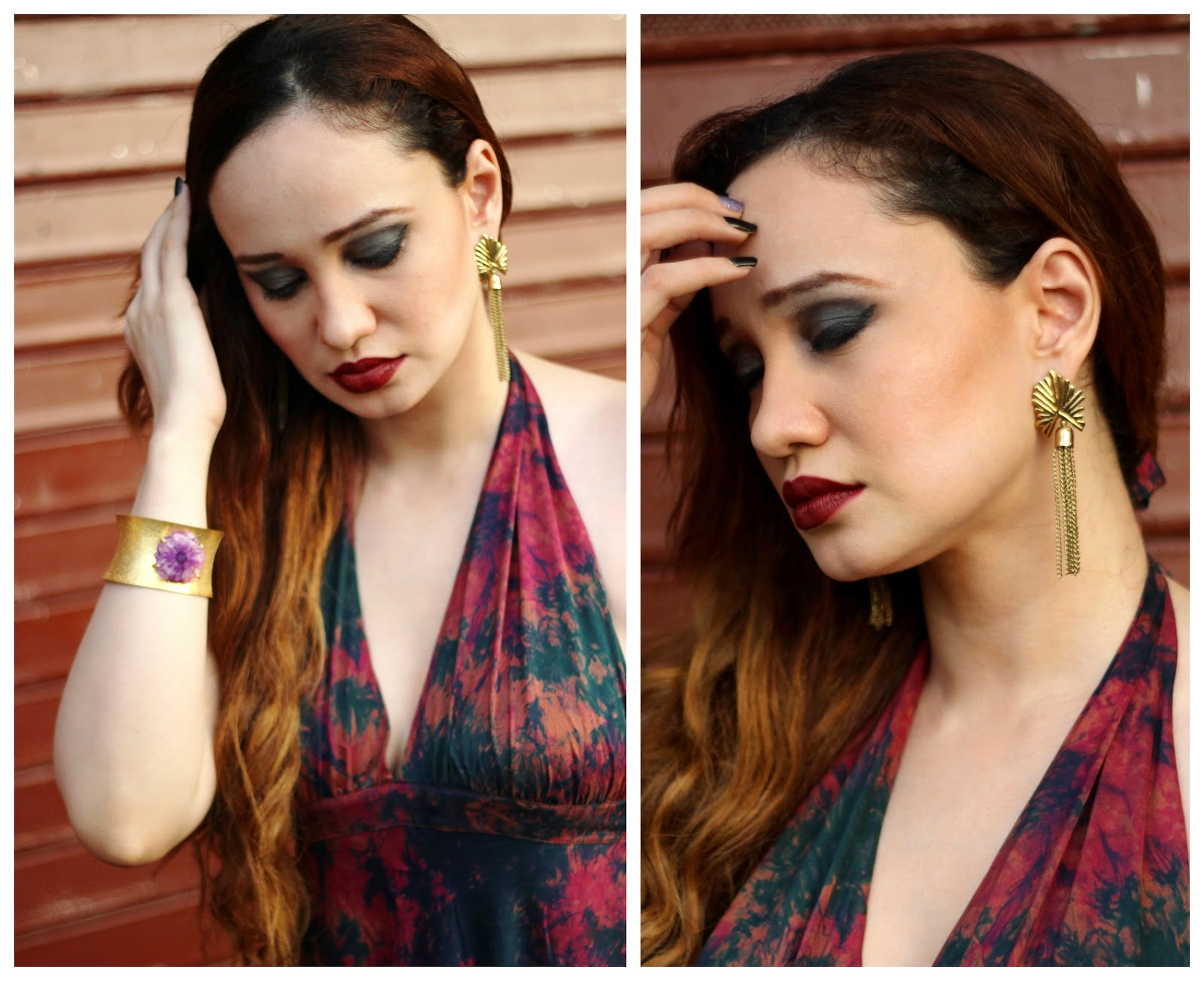 Gold Hand-Cuff, Gold Tassel Earrings, Mac Diva,Bordeaux Lips ,Smokey Eyes