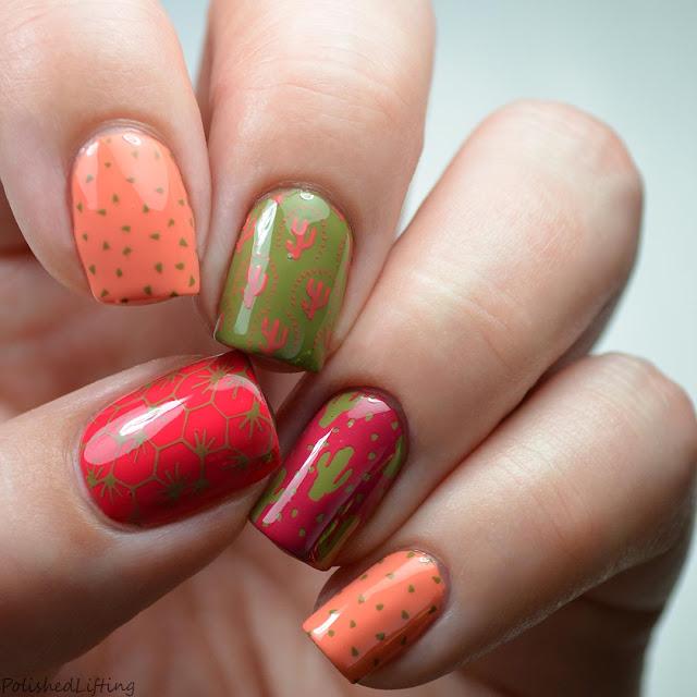 cactus themed nail stamping