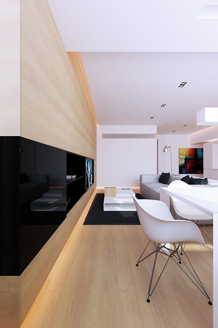 Arquitectura y diseo Apartamento en blanco y madera  100M  Line Architects