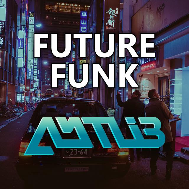 Imagen con el logotipo de DJ Amtlib y las letras Future Funk en blanco