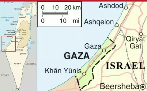 Gaza on map used to illustrate the story.