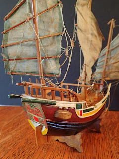 Stern detail of model Chinese seagoing junk