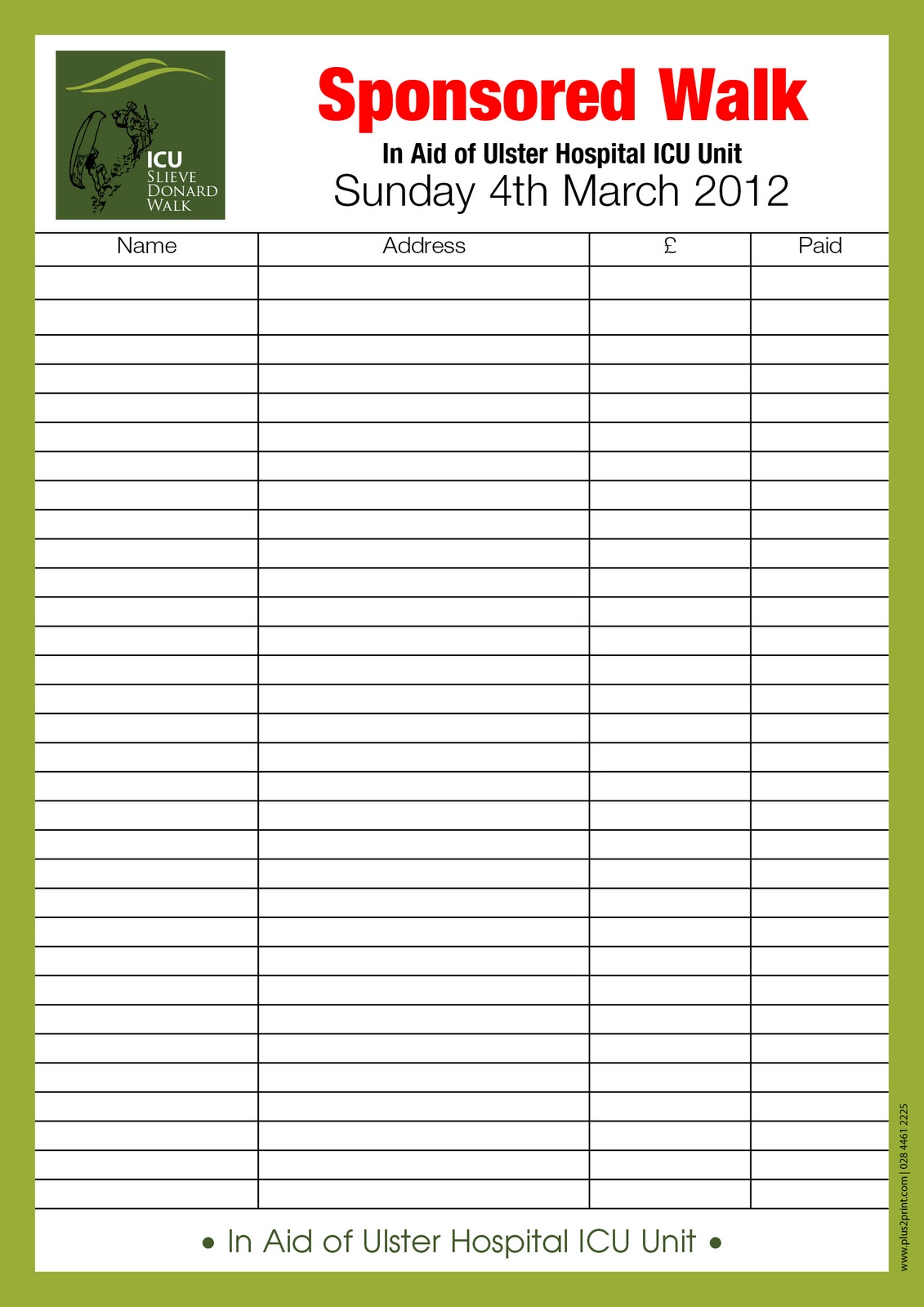 Kids Body Parts fundraising form template 4 fundraising template – Sponsorship Sheet Template