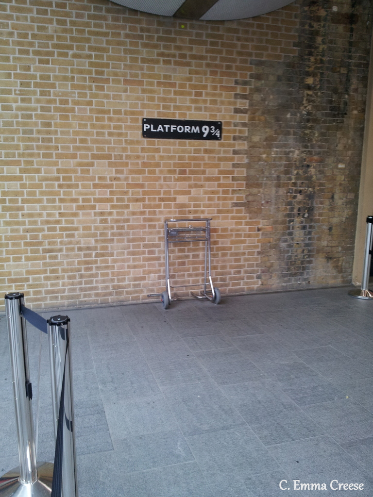 Kings Cross Station's Platfrom 9 & 3/4s, Harry Potter style