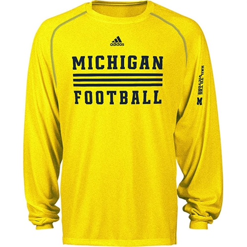 518fbcf5d UM Adidas Climate Evade Sideline Heathered Maize Long Sleeve Shirt - This  super-comfy heathered Michigan long-sleeve tee will help anyone rooting for  Blue ...