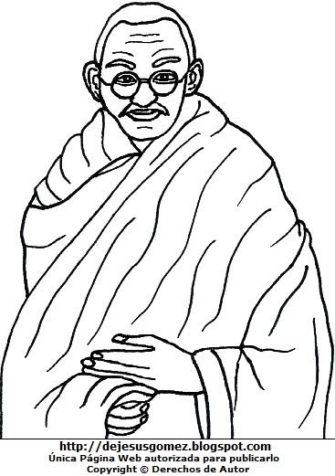 Dibujo de Mahatma Gandhi para colorear o pintar. Ilustración de Mahatma Gandhi hecho por Jesus Gómez