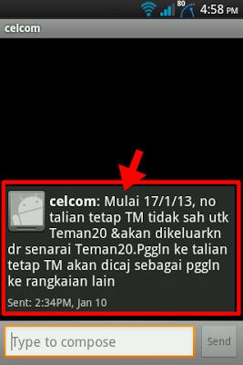 Talian tetap TM akan dikeluarkan dari senarai Teman 20 bermula 17 Januari 2013.