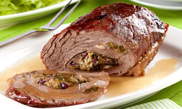 Receita de Carne assada recheada