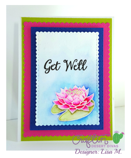 This is a picture of a greeting card with a pink water lily  featuring Craftin Desert Divas April Release
