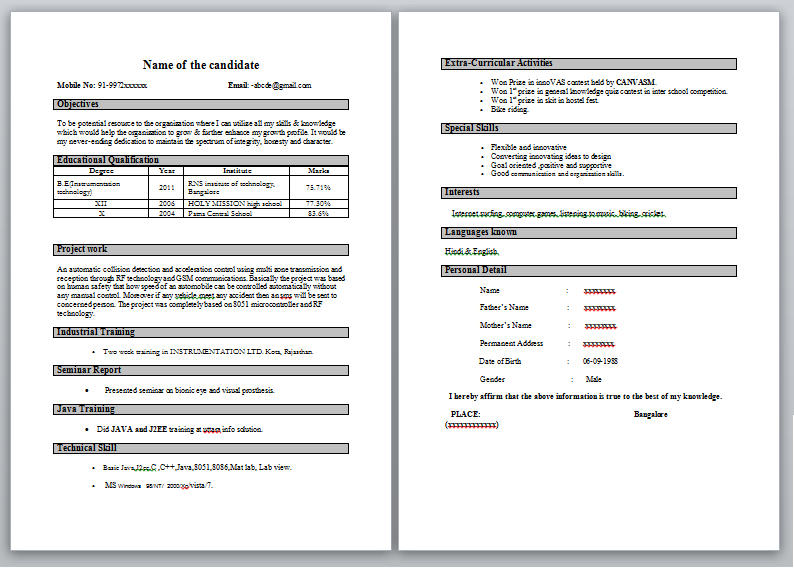 best sample resume for freshers engineers - Template