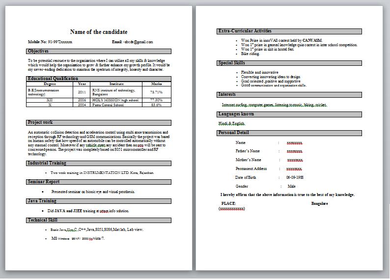 Good Sample Resume For Freshers. fresher resume sample for it jobs ...