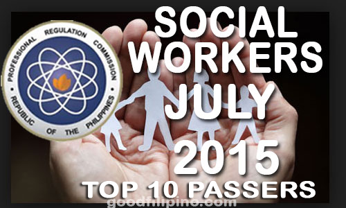 July 2015 Top 10 Social Worker Board Exam PRC Passers