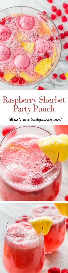 Raspberry Sherbet Party Punch #drinks #recipe