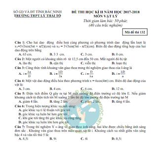 Đề thi học kỳ 2 Vật lý 12 trường THPT Lý Thái Tổ (có đáp án)