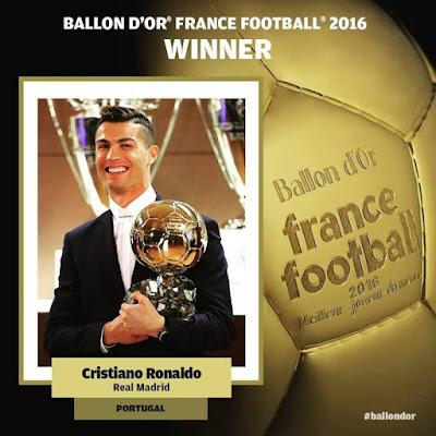 Ronaldo Wins 2016 Ballon D'Or Award For The 4th Time