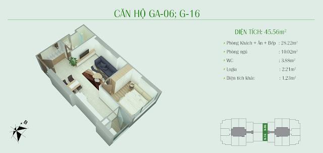 Thiết kế căn hộ 1 ngủ, diện tích 45m2