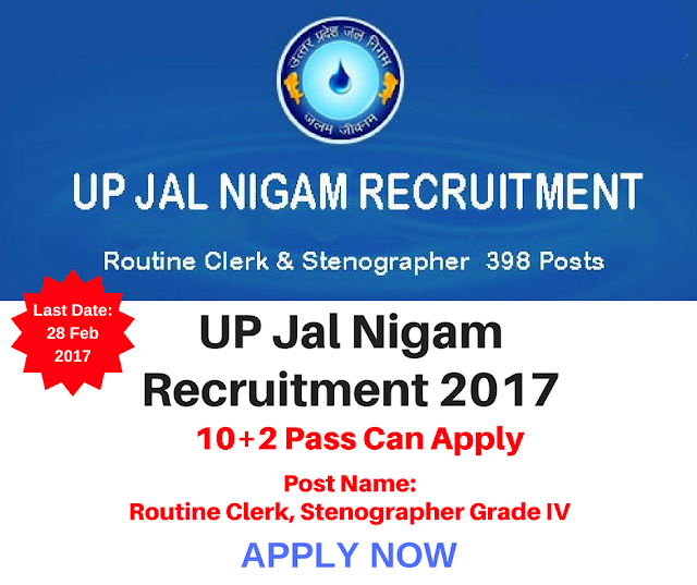 UP Jal Nigam Routine Clerk & Stenographer Recruitment 2017