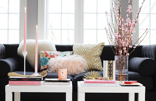 Pretty Little Details Inspiration Files // Pink & white coffee table styling via the Everygirl.