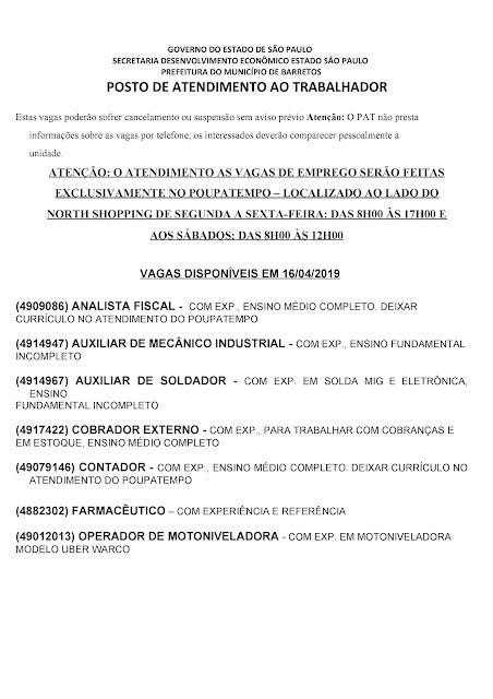 VAGAS DE EMPREGO DO PAT BARRETOS-SP PARA 16/04/2019 TERÇA-FEIRA - Pag. 1