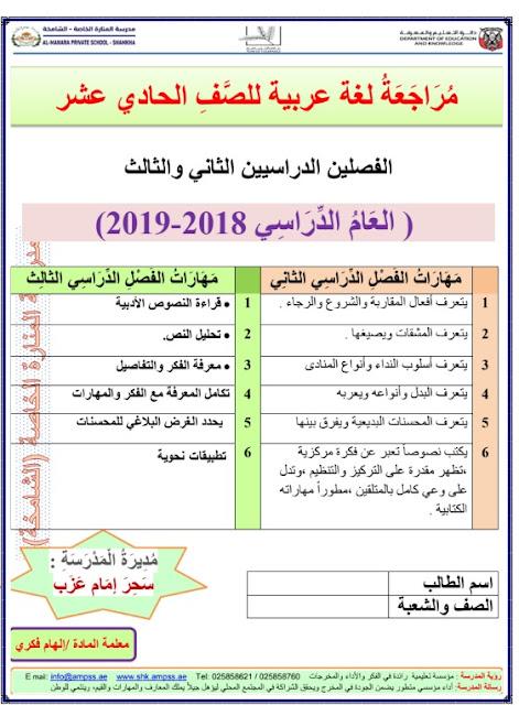 اوراق عمل مراجعة في اللغة العربية للصف الحادي عشر الفصل الثاني والثالث 2018-2019