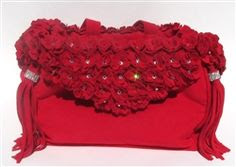 SUSAN LANCI LIMITED EDITION LUXURY PURSE CARRIER COLLECTION - ULTRASUEDE RED TINKIE'S GARDEN WITH TASSELS