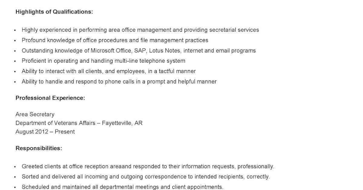 resume samples area secretary resume sample