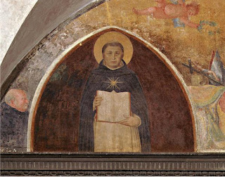 Fra Angelico's depiction of  Thomas Aquinas with his Summa Theologiae in the Convent of San Marco in Florence