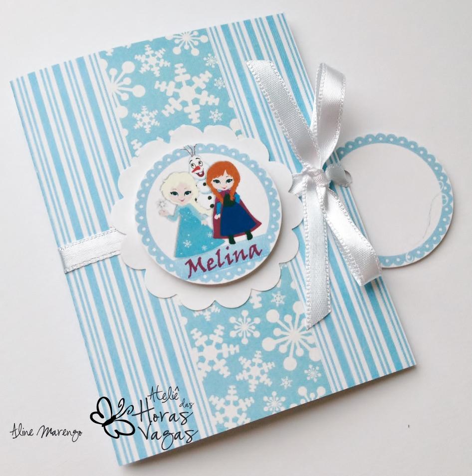 convite artesanal aniversário infantil frozen princesas anna elsa olaf azul e branco menina