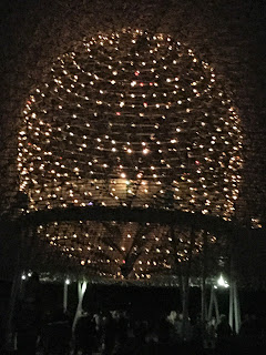 Pic of Expo 2015's The Hive lit up at night for Christmas at Kew 2016