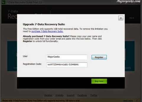 7 data recovery registration code and username free download