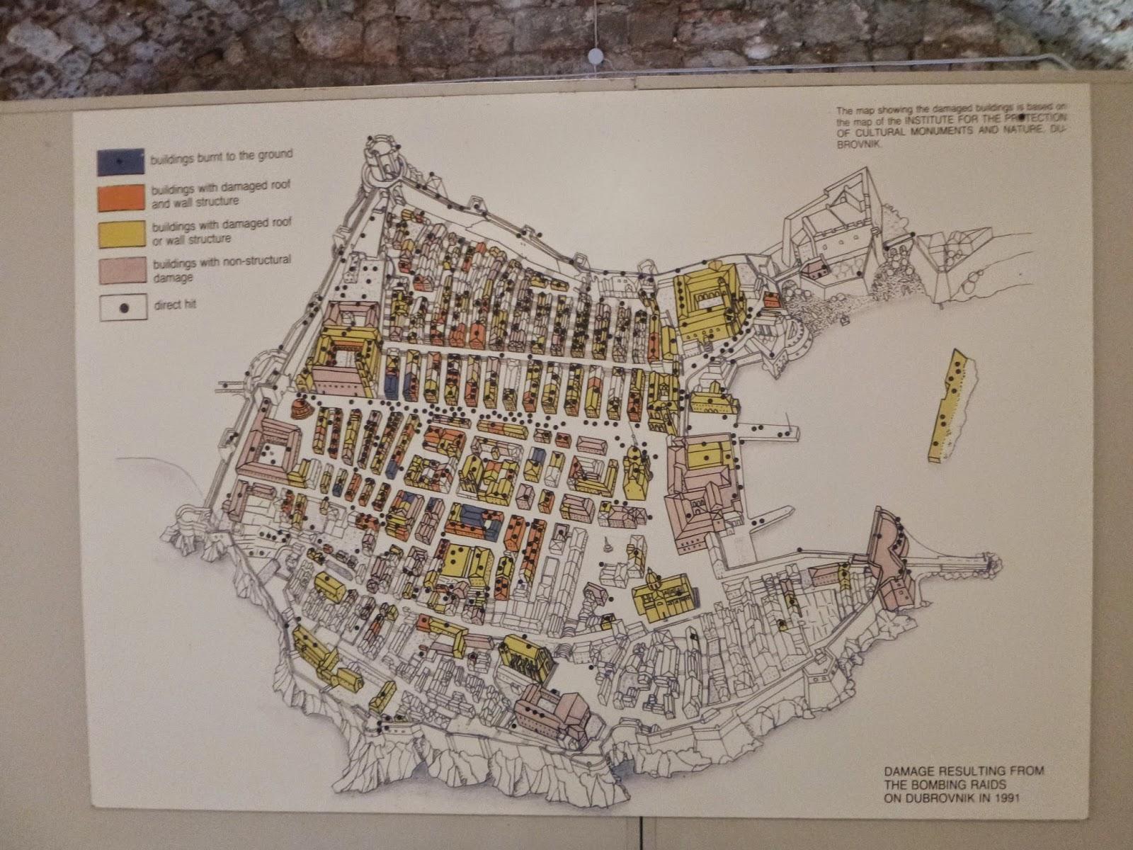 Pontos onde a cidade foi bombardeada, Dubrovnik.