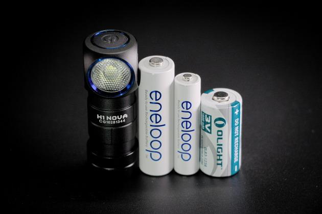 Olight H1 Nova w porównaniu do akumulatorków eneloop AA i AAA oraz baterii Olight CR123